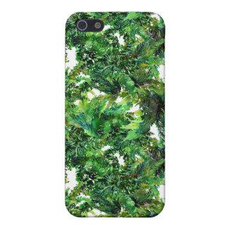Farnwaldfallmuster des Aquarells grünes iPhone 5 Etui