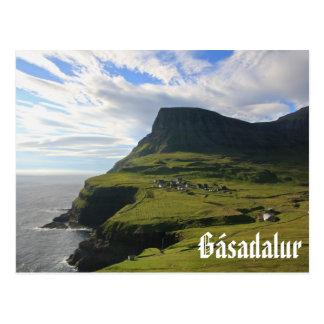 Faroese Dorf von Gásadalur: Postkarte