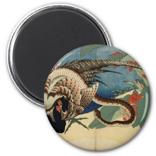 Fasan und die Schlange Runder Magnet 5,1 Cm