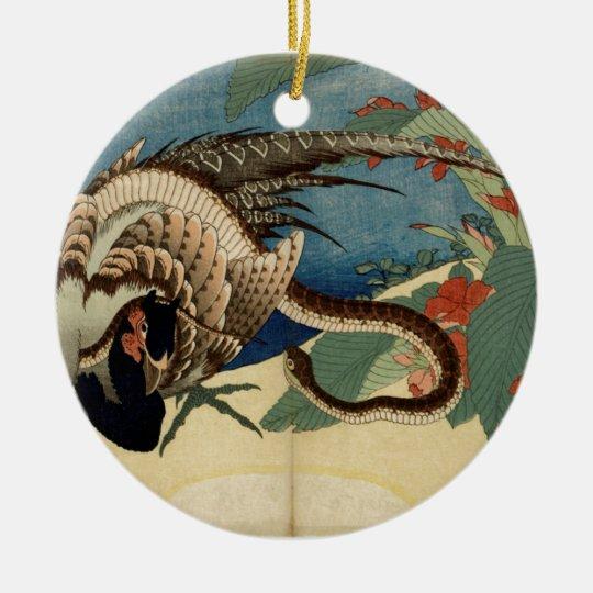 Fasan und die Schlange Rundes Keramik Ornament