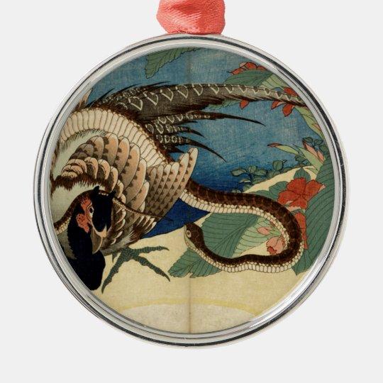 Fasan und die Schlange Rundes Silberfarbenes Ornament