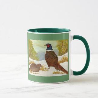 Fasane in der Schnee-Wecker-Tasse Tasse