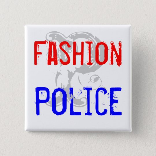 Fashion, Police Quadratischer Button 5,1 Cm