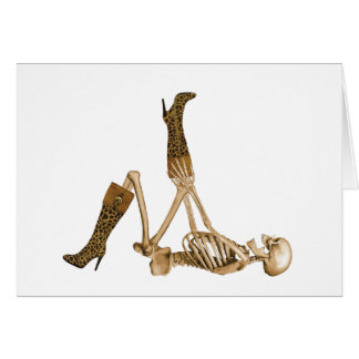 Fashionista-Skelett in den Leopard-Stiefeln Grußkarte