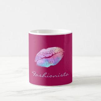 Fashionista-Zuckerwatte-Farblippen Kaffeetasse