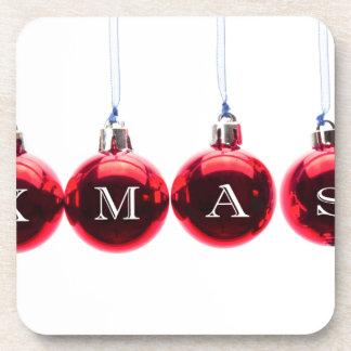 Fassen Sie Weihnachten auf den roten Getränk Untersetzer