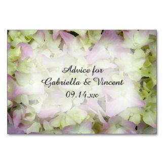 Fast rosa Hydrangea-Blumen, die Ratekarten Wedding Karte