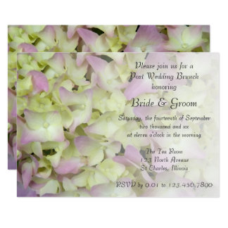 Fast rosa Hydrangea-Blumenposten-Hochzeits-Brunch Karte
