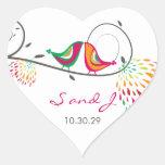 fatfatin, das die Sommer-Vögel Wedding sind Aufkle Herz Aufkleber