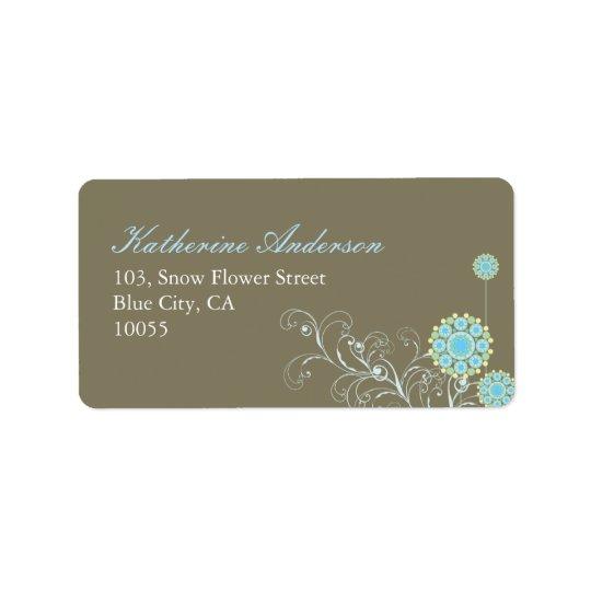 fatfatin Schnee-Blumen-Wirbels-blaues Adressetikett