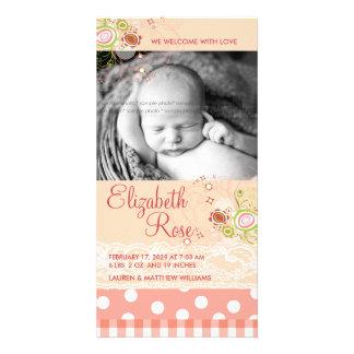 fatfatin süßes Rosa blüht Baby-Mitteilung Foto Grußkarte