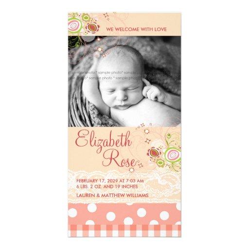 fatfatin süßes Rosa blüht Baby-Mitteilung Photokarte