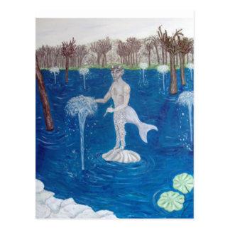 Faun in einem Brunnen-Wald Postkarte