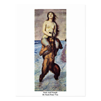 Faun und Nymphe durch festen Franz Von Postkarte