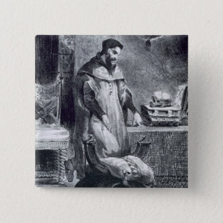 Faust in seiner Studie, von Goethes Faust, 1828, Quadratischer Button 5,1 Cm