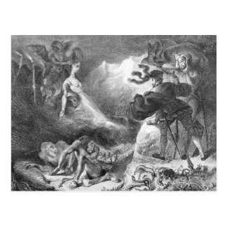 Faust und Mephistopheles an den Hexen Postkarte