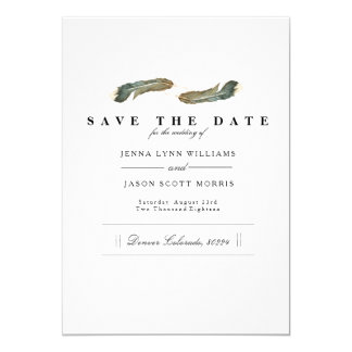 Feder-DuoWatercolor | elegant Save the Date Karte