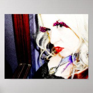 Feder peitscht Spiegel der | Rot-Lippen| Poster