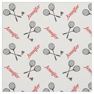 Federballschläger und Ihr Name personalisiert Stoff