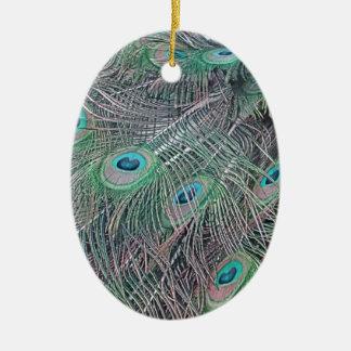 Federn eines Pfaus Keramik Ornament