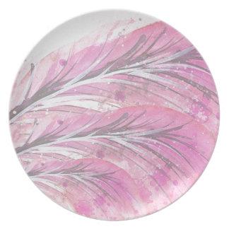 Federn, helle Rose, elegant, hoch entwickelt Teller