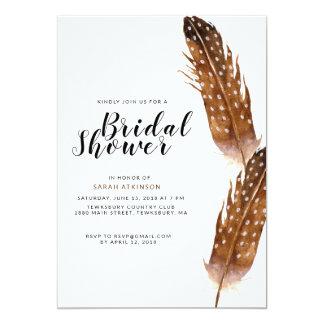 Federwatercolor-Brautparty-Einladung Karte
