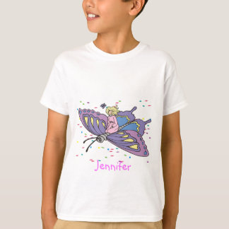 Fee im rosa Fliegen auf Schmetterling T-Shirt
