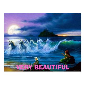 Fee-Meerjungfrau-undEinhörner, SEHR SCHÖN Postkarte