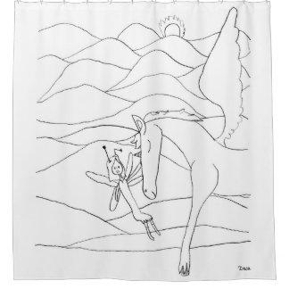 Fee mit Unicorn-dem magischen Bleistift-Zeichnen Duschvorhang