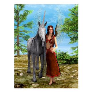 Fee und Einhorn Postkarte