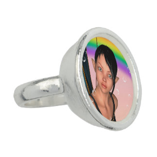Fee unter Regenbogen Ringe