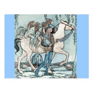 Feen auf zu Pferde Postkarte