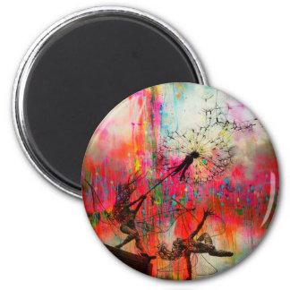 Feen, die Gänseblümchen-Samen verbreiten Runder Magnet 5,1 Cm