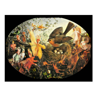 Feen und Robins Nest Postkarte