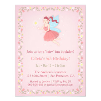 Feenhafte Frühlings-Mädchen-rosa Geburtstags-Party Karte