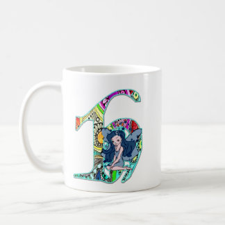 Feenhafter Buchstabe H mit personifizieren Namen Kaffeetasse