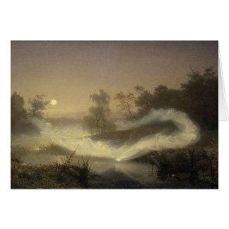Feenhafter Nebel im Mondschein Grußkarte