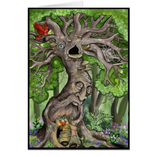 Feenhaftes Baum-Zuhause Grußkarte