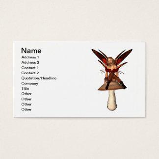 Feenhaftes Sitzen des Herbstes auf einem Toadstool Visitenkarte