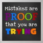 Fehler sind Beweis, dass Sie Plakat versuchen
