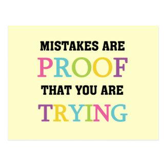 Fehler sind Beweis, den Sie versuchen Postkarte