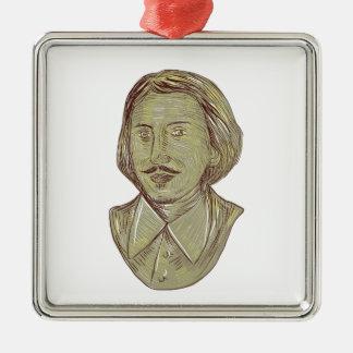 Fehlschlag-Zeichnen Christophers Marlowe Quadratisches Silberfarbenes Ornament