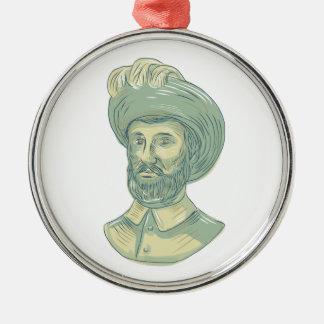 Fehlschlag-Zeichnen Juans Sebastian Elcano Silbernes Ornament