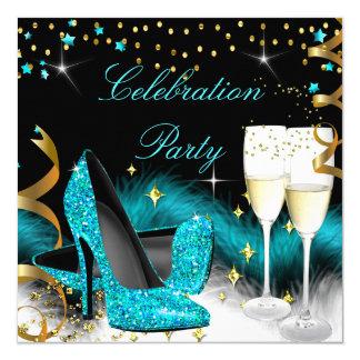 Feier-Champagne-Party-aquamariner blauer hoher Karte
