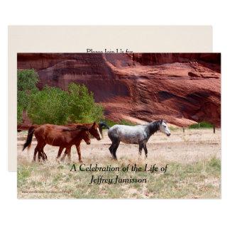 Feier der Leben-Einladung, drei Pferde Karte
