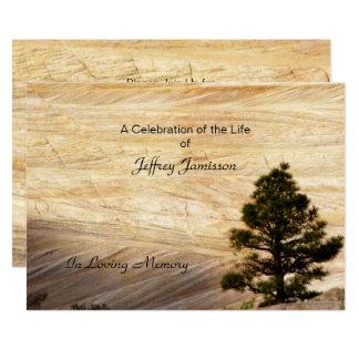 Feier der Leben-Einladung, hellbrauner Stein Karte