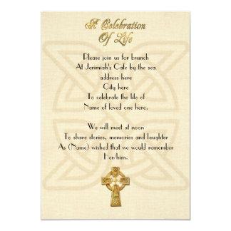 Feier des keltischen Knotens u. des Kreuzes Leben 12,7 X 17,8 Cm Einladungskarte