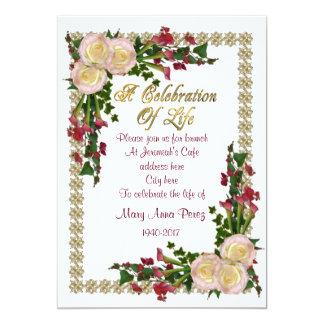 Feier des Leben Einladungsblumenrahmens Karte