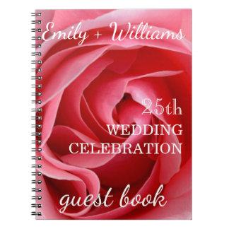 Feier-Gewohnheits-Gast Hochzeit der rosa Rose 25. Notizblock