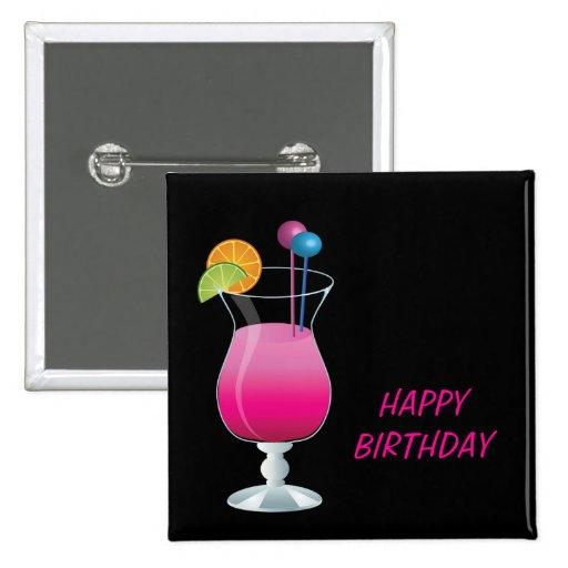 Feier-rosa Cocktail-alles Gute zum Geburtstag Anstecknadel